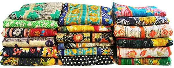 Handstitched Traditional Kantha Quilts Fair Trade Home Goods by Musae Imports