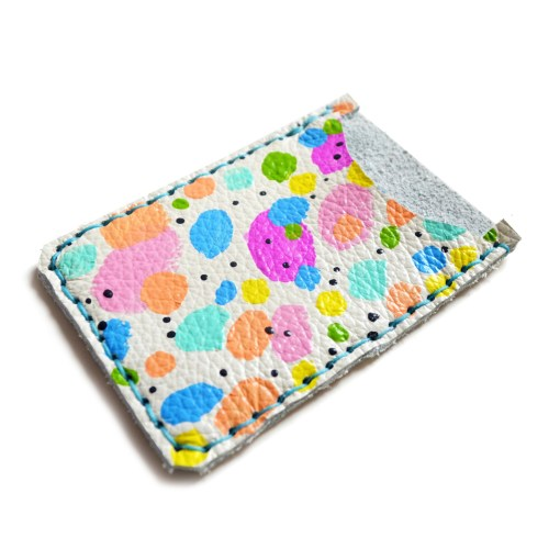 rainbow polka dots leather card holder detail photo