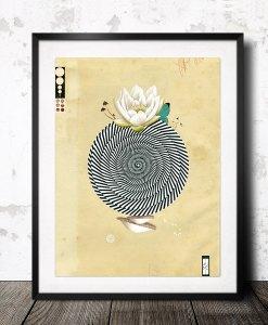 wonderful world art print with lotus art from spain