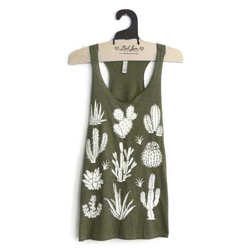 sage green cactus t shirt tank top handmade clothing