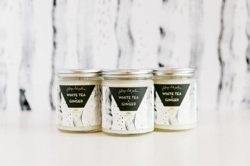 white tea + ginger handmade candle pop shop america