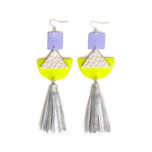 Geometric_Earrings__Neon_Yellow_Leather_Earrings__Holographic_Silver_Leather_Tassel_Earrings__Hologram_Jewelry_2