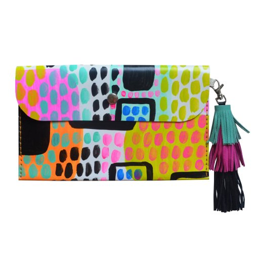 Leather_Clutch__Neon_Leather_Tassel_Bag__Abstract_Art_Clutch__Envelope_Clutch_Bag__Leather_Purse