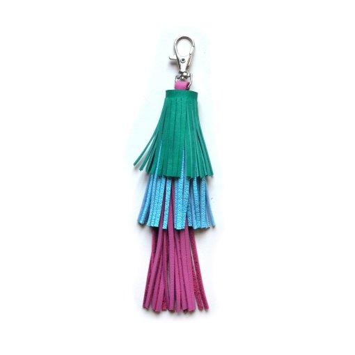 Leather_Tassel_Key_Chain__Green__Pink_and_Blue_Tassel__Bag_Charm