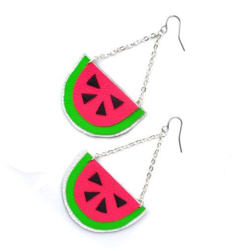 Watermelon_Earrings__Hot_Pink_Earrings__Fruit_Earrings__Pop_Art_Earrings__Leather_Earrings_3