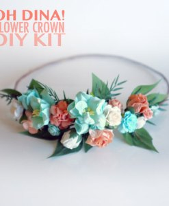 peach and mint diy flower crown kit pop shop america