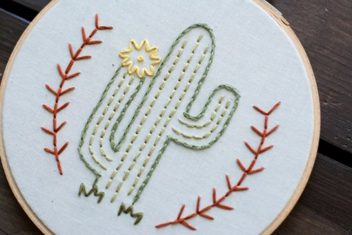 close up detail of flowering cactus embroidery art