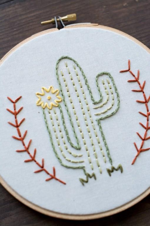 flowering desert cactus art - embroidery hoop art