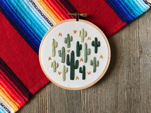 green cactus embroidery art by mountains of thread austin tx