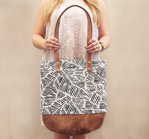 leather and canvas shoulder bag pop shop america handmade accessories