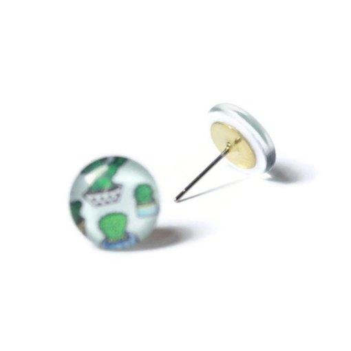 cactus stud earrings handmade jewelry san antonio tx