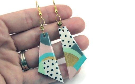 detail pastel geometric earrings handmade in san antonio tx