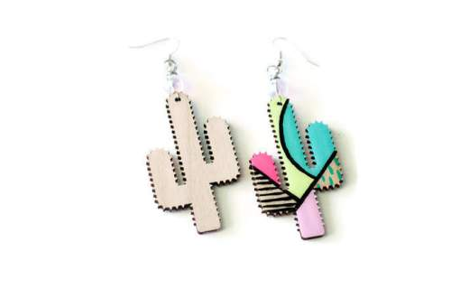 front and back of abstract painted cactus earrings