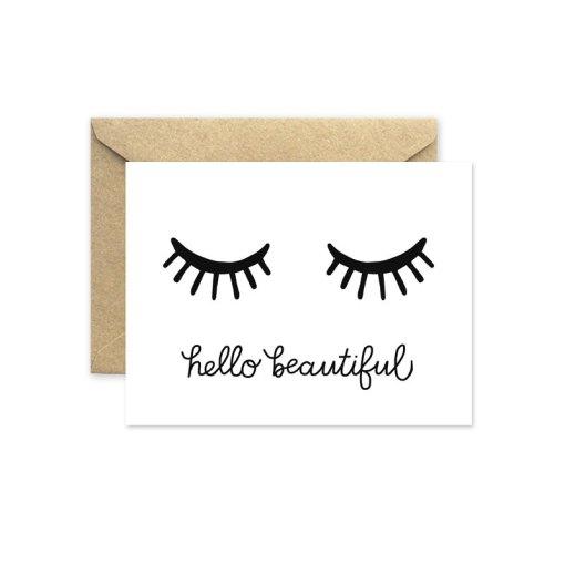 hello beautiful eyelashes greeting card