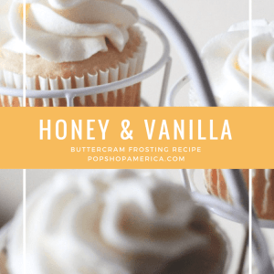 honey and vanilla buttercream frosting pin feature pop shop america