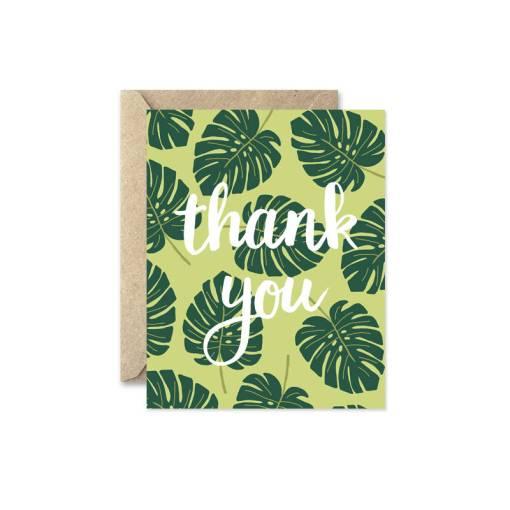 monstera leaf thank you card