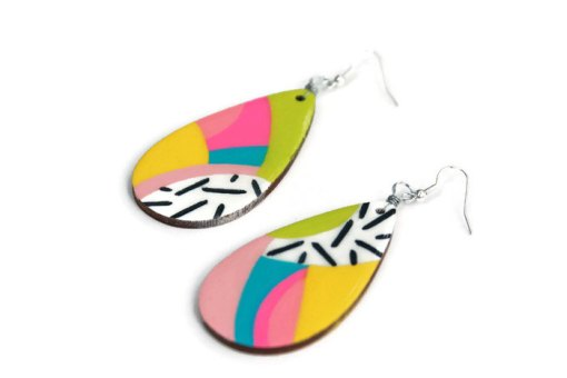 rainbow teardrop earrings - handmade jewelry from san antonio tx