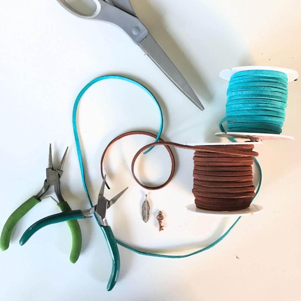 leather suede string to make a diy lauriat necklace pop shop america