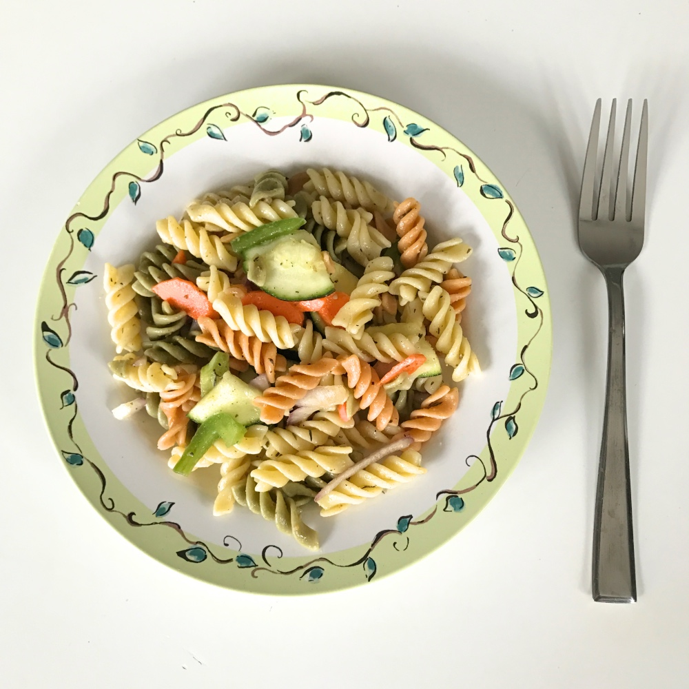 plated pasta salad with lemon and vegetable recipe