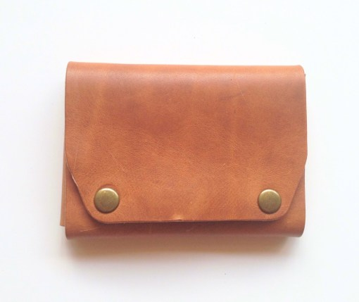 simple brown leather snap wallet