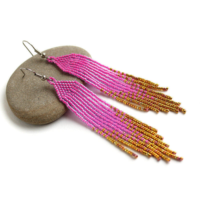 ombre pink to gold earrings