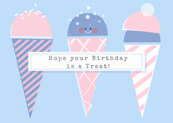 Cute Ice Cream Birthday Card