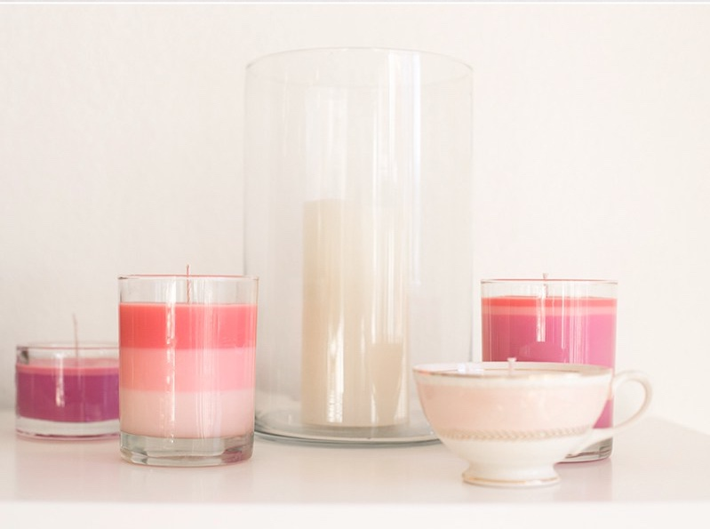 pink ombre crayon and candle diy