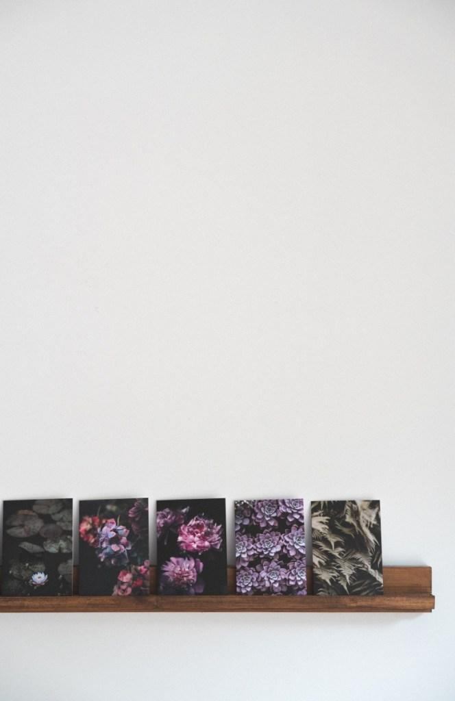 diy art shelf with flower photos pop shop america