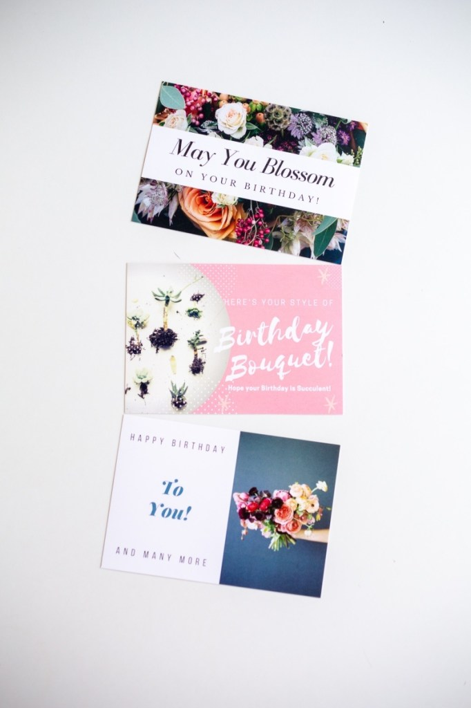 3 free birthday cards with flowers and succulents