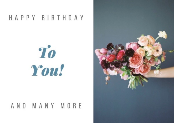 Happy Birthday Card with Flower Bouquet_small