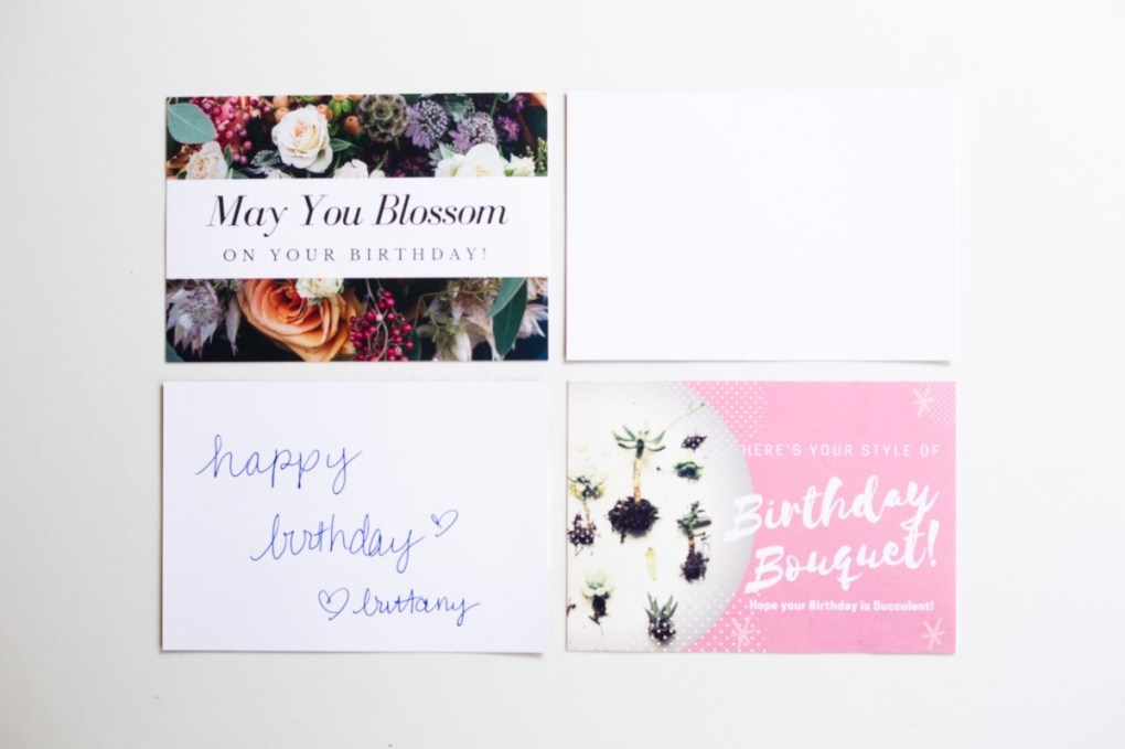free succulent and flowers printable birthday cards