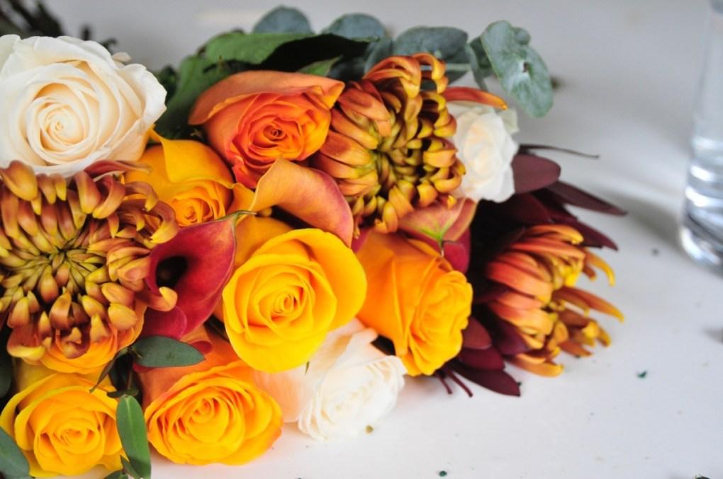 detail of fall flower bouquet by enjoy flowers pop shop america