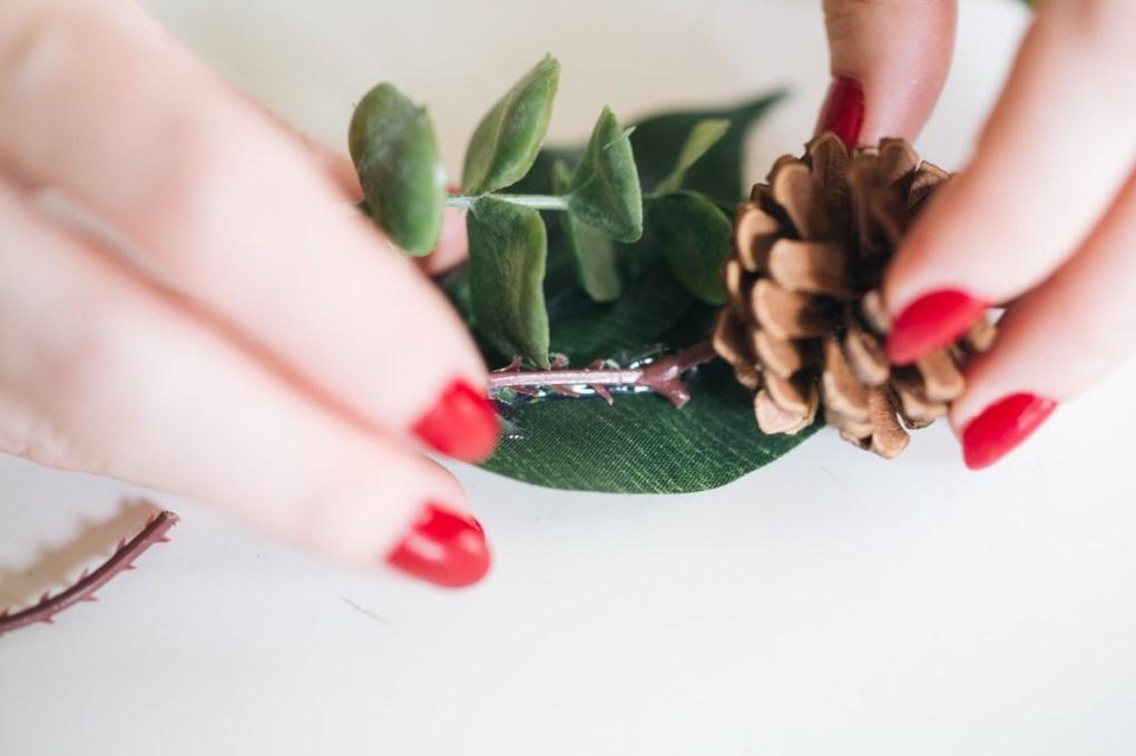 glue the pine cone for a fall fairy garden barrette