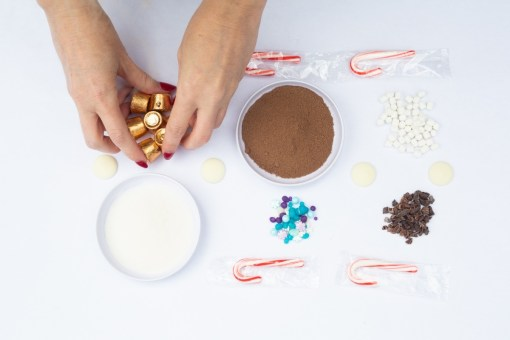 all the candy and mix ins to make layered hot chocolate mixes