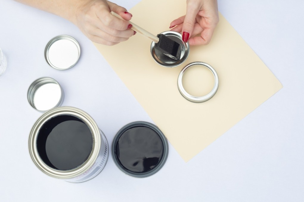 brush the chalkboard paint directly on the mason jars