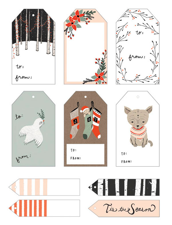 hand drawn free holiday gift tag download