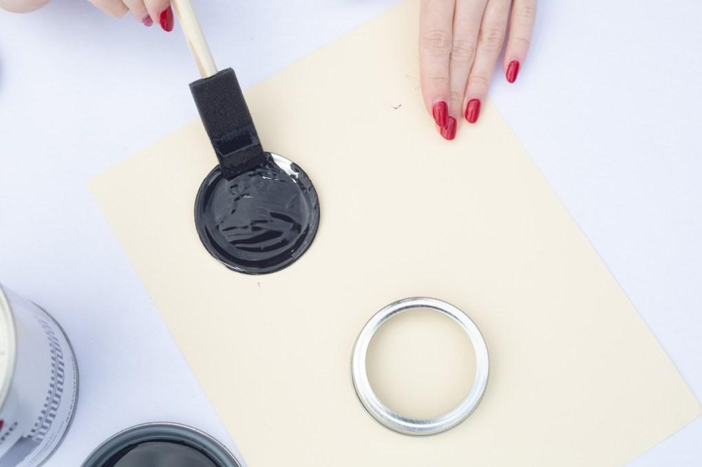 paint the mason jar lids thoroughly craft tutorial