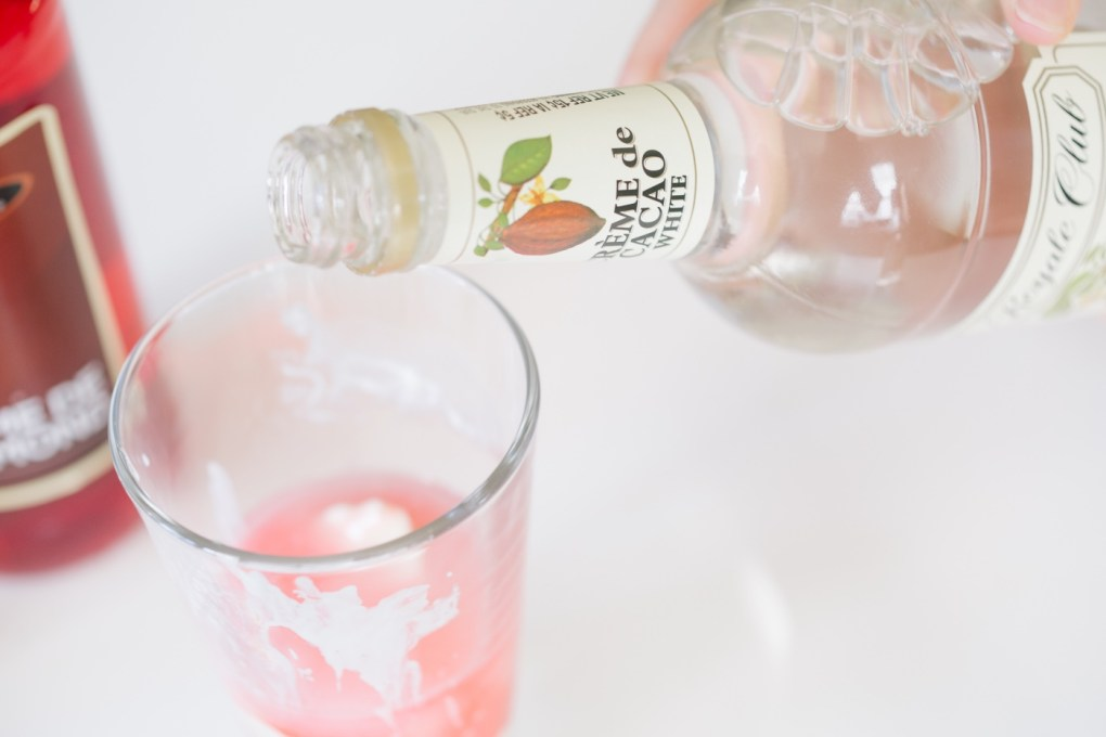 add creme del cacao white to the pink squirrel cocktail recipe pop shop america