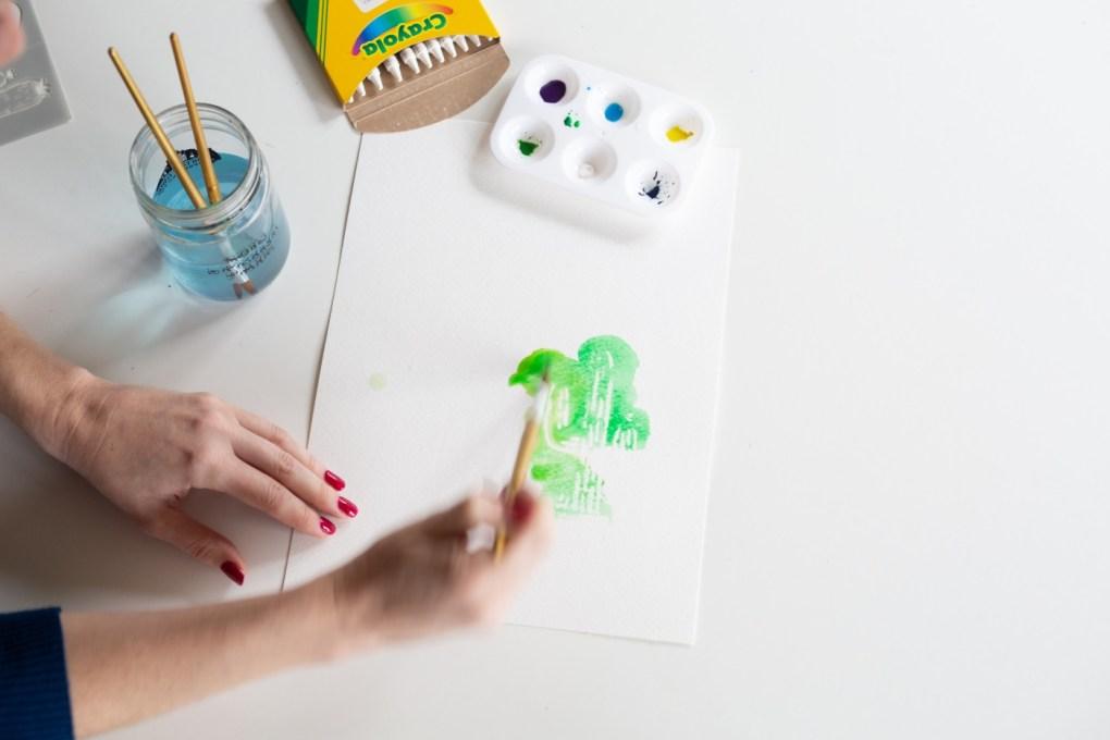 cactus watercolor wax resist in process pop shop america