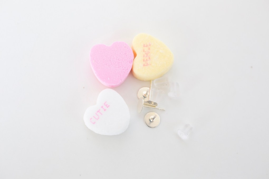 candy and earring blanks for diy conversation heart earrings jewelry