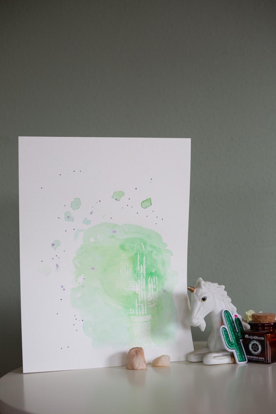 displayed painting watercolor wax resist cactus pop shop america