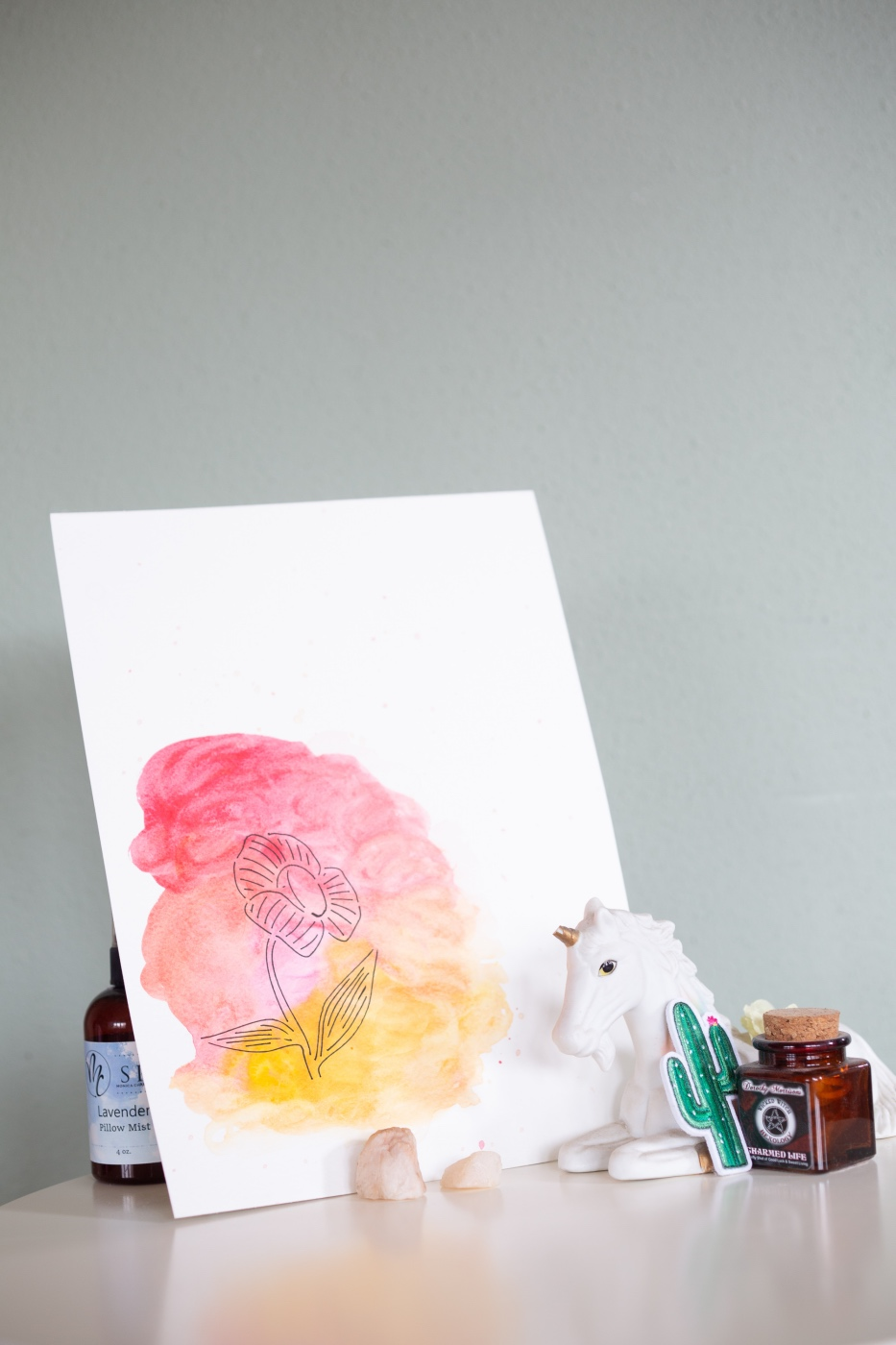 easy watercolor stencil painting tutorial on display