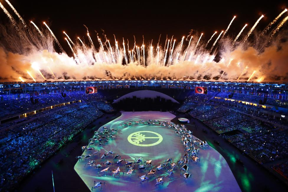 Fireworks explode during the opening ceremony. REUTERS/Pawel Kopczynski