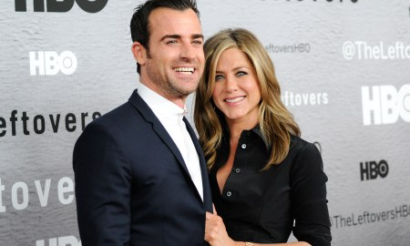 """Actors Justin Theroux and Jennifer Aniston attend HBO's """"The Leftovers"""" season premiere at the NYU Skirball Center on Monday, June 23, 2014 in New York. (Photo by Evan Agostini/Invision/AP)"""