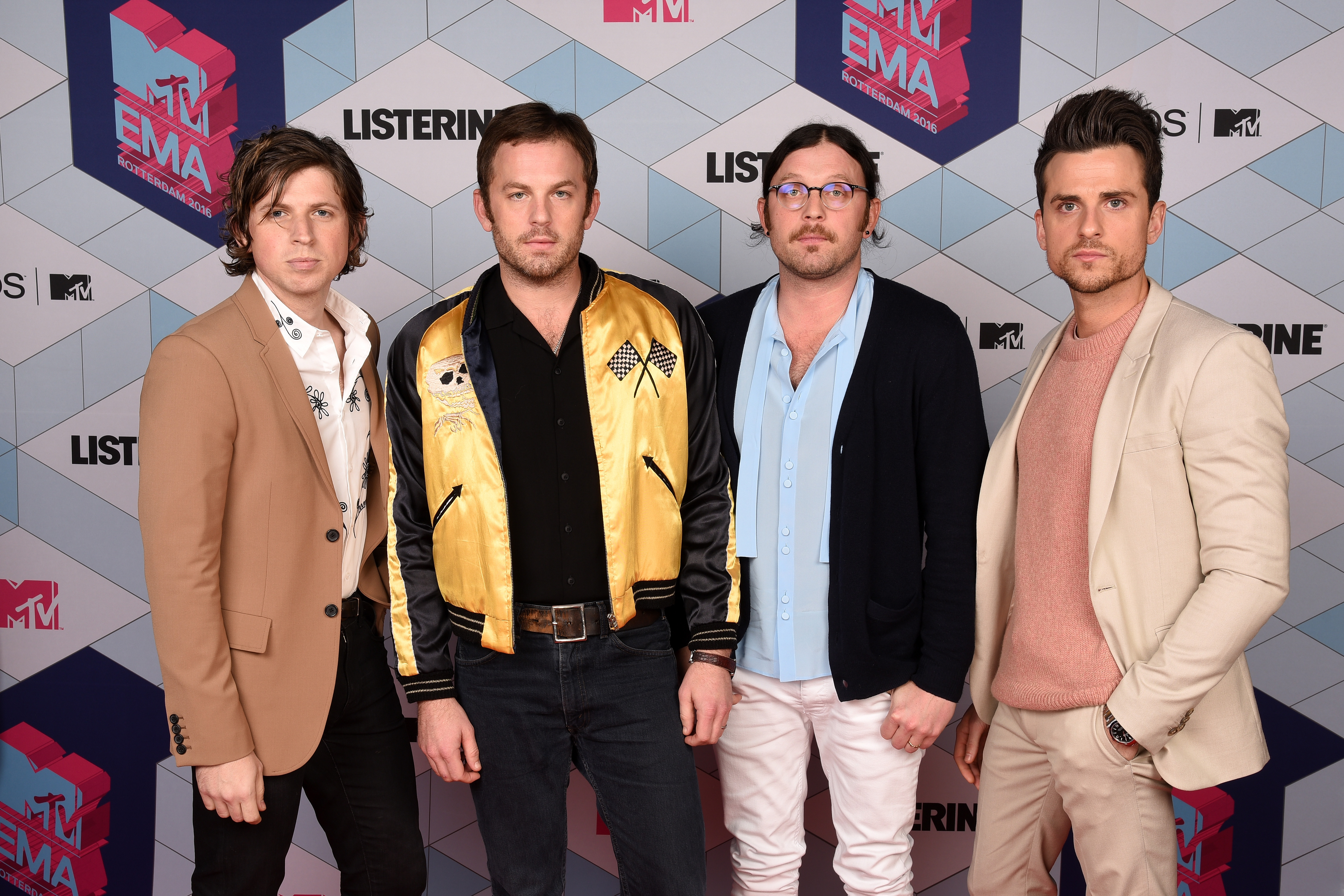 ROTTERDAM, NETHERLANDS - NOVEMBER 06:  (L-R) Matthew Followill, Caleb Followill, Nathan Followill and Jared Followill of Kings of Leon attend the MTV Europe Music Awards 2016 on November 6, 2016 in Rotterdam, Netherlands.  (Photo by Dave Hogan/MTV 2016/Getty Images)
