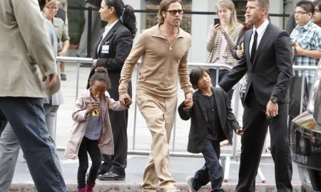 "7353044 Superstars Brad Pitt and Angelina Jolie leave the premier of ""Kung Fu Panda 2"" with their four children Maddox Chivan, Zahara Marley, Shiloh Nouvel and Pax Thien in the midst of a swarm of fans in Los Angeles, California on May 22nd, 2011 FameFlynet, Inc - Beverly Hills, CA, USA - +1 (818) 307-4813"