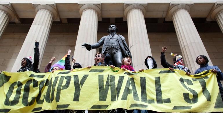 Occupy Wall Street banner with Alexander Hamilton