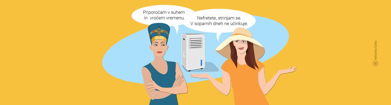 Evaporativna hladilna naprava - prednosti in slabosti / PorabimanjINFO / Illustracija: Branko Baćović