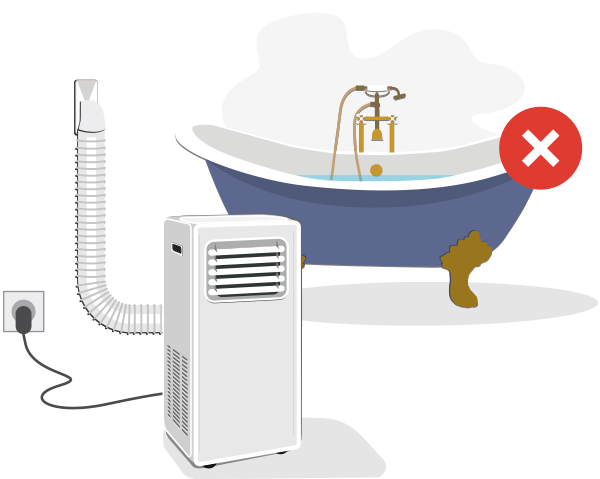 Izbira mesta za umestitev prenosne klimatske naprave / PorabimanjINFO / Ilustracija: Branko Baćović