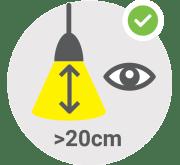 Nasveti za varno uporabo svetilk - bralne s. uporabljajte na razdalji najmanj 20 cm / PorabimanjINFO